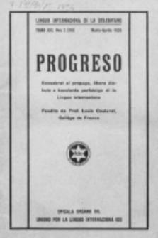 Progreso : oficala organo dil Uniono por la apliko e propago de la Linguo Internaciona (Ido). Tomo 13, nro. 2=110 (Marto-Aprile 1936)