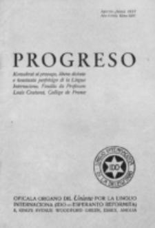 Progreso : oficala organo dil Uniono por la apliko e propago de la Linguo Internaciona (Ido). Tomo 14, nro. 2=116 (Aprilo-Junio 1937)