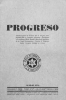 Progreso : oficala organo dil Uniono por la apliko e propago de la Linguo Internaciona (Ido). Tomo 15, nro. 3=120 (Julio-Septembro 1938)