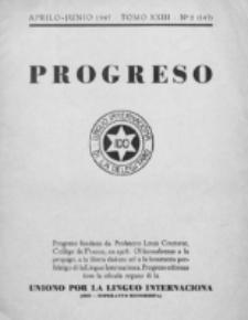 Progreso : oficala organo dil Uniono por la apliko e propago de la Linguo Internaciona (Ido). Tomo 23, nro. 2=147 (Aprilo-Junio 1947)