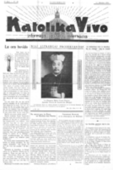 Katolika Vivo : informiga gazeto internacia. 1 Jaro (1931), no 20 (11 Oktobro)