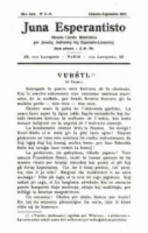 Juna Esperantisto : ilustrita gazeto beletristika por la Junuloj, Instruistoj kaj Esperanto-Lernantoj. Jaro 9, no. 8-9 (1911)