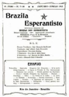 """Brazila Esperantisto : oficiala organo de """"Brazila Ligo Esperantista"""". Jaro 6, numero 7/10 (1914/1915)"""