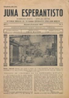 Juna Esperantisto : internacia monata-junulara revuo : oficiala organo de Tutmonda Esperanto-Junulara Asocio. Jaro 1, nr. 1 (Januaro-Februaro 1933)