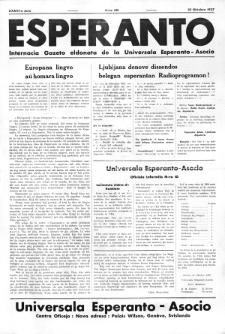 Esperanto : revuo internacia : oficiala organo de Universala Esperanto Asocio. Jaro 33, no 451 (25 Oktobro 1937)