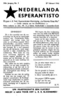 "Nederlanda Esperantisto : orgaan der Nederlandsche Esperantisten Vereeniging ""La Estono Estas Nia"". Jaargang 11, no. 1 (27 Februari 1946)"