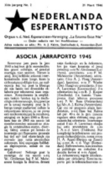 "Nederlanda Esperantisto : orgaan der Nederlandsche Esperantisten Vereeniging ""La Estono Estas Nia"". Jaargang 11, no. 2 (21 Maart 1946)"