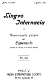 Lingvo Internacia : monata gazeto por la lingvo esperanto. Jaro 11, n-ro. 13=145 (1 Julio 1906)