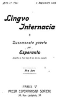 Lingvo Internacia : monata gazeto por la lingvo esperanto. Jaro 11, n-ro. 17=149 (1 Septembro 1906)