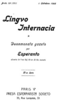 Lingvo Internacia : monata gazeto por la lingvo esperanto. Jaro 11, n-ro. 19=151 (1 Oktobro 1906)