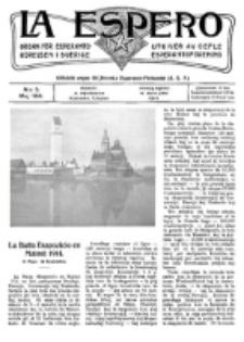 Lâ Espero : officiellt organ för Svenska Esperanto-Förbundet (S.E.F.) : organ för Esperanto-rörelsen i Sverige. No 5 (Maj 1914)