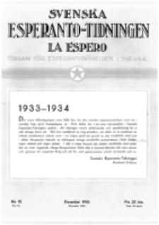 Lâ Espero : officiellt organ för Svenska Esperanto-Förbundet (S.E.F.) : organ för Esperanto-rörelsen i Sverige. Arg. 21, nr 12 (December 1933)