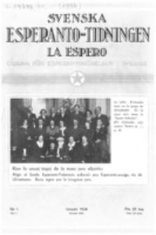 Lâ Espero : officiellt organ för Svenska Esperanto-Förbundet (S.E.F.) : organ för Esperanto-rörelsen i Sverige. Arg. 22, nr 1 (Januari 1934)