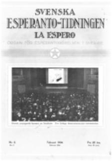Lâ Espero : officiellt organ för Svenska Esperanto-Förbundet (S.E.F.) : organ för Esperanto-rörelsen i Sverige. Arg. 22, nr 2 (Februari 1934)