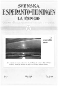Lâ Espero : officiellt organ för Svenska Esperanto-Förbundet (S.E.F.) : organ för Esperanto-rörelsen i Sverige. Arg. 22, nr 3 (Mars 1934)