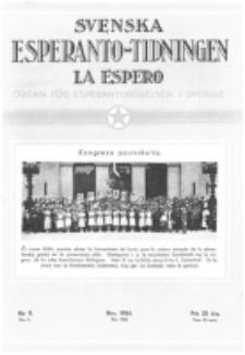 Lâ Espero : officiellt organ för Svenska Esperanto-Förbundet (S.E.F.) : organ för Esperanto-rörelsen i Sverige. Arg. 22, nr 11 (Nov. 1934)