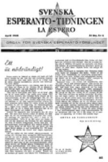 Lâ Espero : officiellt organ för Svenska Esperanto-Förbundet (S.E.F.) : organ för Esperanto-rörelsen i Sverige. Arg. 31, nr 4 (April 1943)