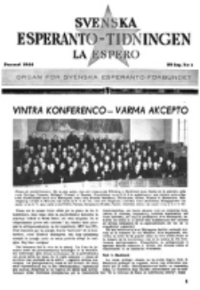Lâ Espero : officiellt organ för Svenska Esperanto-Förbundet (S.E.F.) : organ för Esperanto-rörelsen i Sverige. Arg. 32, nr 1 (Januari 1944)
