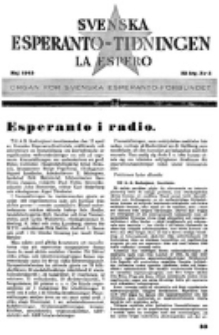 Lâ Espero : officiellt organ för Svenska Esperanto-Förbundet (S.E.F.) : organ för Esperanto-rörelsen i Sverige. Arg. 33, nr 5 (Maj 1945)