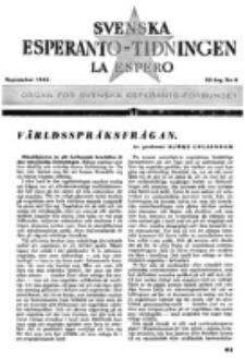Lâ Espero : officiellt organ för Svenska Esperanto-Förbundet (S.E.F.) : organ för Esperanto-rörelsen i Sverige. Arg. 33, nr 9 (September 1945)