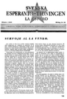 Lâ Espero : officiellt organ för Svenska Esperanto-Förbundet (S.E.F.) : organ för Esperanto-rörelsen i Sverige. Arg. 33, nr 10 (Oktober 1945)
