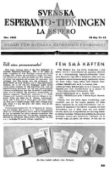 Lâ Espero : officiellt organ för Svenska Esperanto-Förbundet (S.E.F.) : organ för Esperanto-rörelsen i Sverige. Arg. 33, nr 12 (Dec. 1945)
