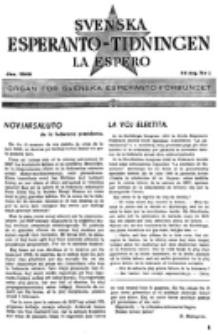 Lâ Espero : officiellt organ för Svenska Esperanto-Förbundet (S.E.F.) : organ för Esperanto-rörelsen i Sverige. Arg. 34, nr 1 (Jan. 1946)