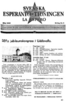Lâ Espero : officiellt organ för Svenska Esperanto-Förbundet (S.E.F.) : organ för Esperanto-rörelsen i Sverige. Arg. 34, nr 5 (Maj 1946)
