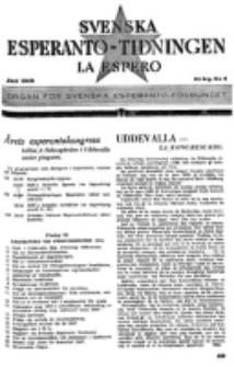 Lâ Espero : officiellt organ för Svenska Esperanto-Förbundet (S.E.F.) : organ för Esperanto-rörelsen i Sverige. Arg. 34, nr 6 (Juni 1946)
