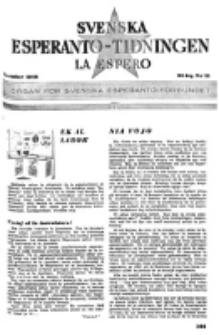 Lâ Espero : officiellt organ för Svenska Esperanto-Förbundet (S.E.F.) : organ för Esperanto-rörelsen i Sverige. Arg. 34, nr 11 (November 1946)