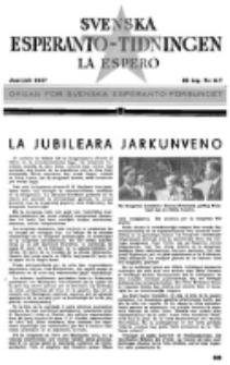 Lâ Espero : officiellt organ för Svenska Esperanto-Förbundet (S.E.F.) : organ för Esperanto-rörelsen i Sverige. Arg. 35, nr 6/7 (Juni-Juli 1947).