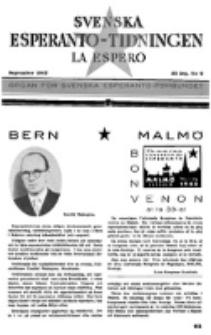 Lâ Espero : officiellt organ för Svenska Esperanto-Förbundet (S.E.F.) : organ för Esperanto-rörelsen i Sverige. Arg. 35, nr 9 (September 1947)