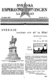 Lâ Espero : officiellt organ för Svenska Esperanto-Förbundet (S.E.F.) : organ för Esperanto-rörelsen i Sverige. Arg. 35, nr 11 (November 1947)