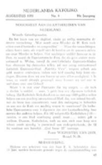 Nederlanda Katoliko. Jg. 16, no. 4 (Augustus 1931)