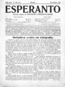 Esperanto : revuo internacia : oficiala organo de Universala Esperanto Asocio. Jaro 21, no 11=303 (Novembro 1925)