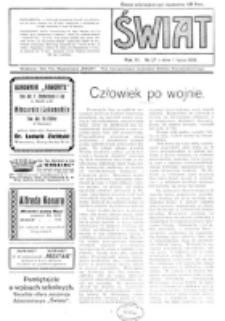 Świat : pismo tygodniowe ilustrowane poświęcone życiu społecznemu, literaturze i sztuce. R. 11 (1916), nr 27 (1 lipca)