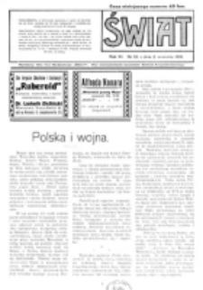 Świat : pismo tygodniowe ilustrowane poświęcone życiu społecznemu, literaturze i sztuce. R. 11 (1916), nr 36 (2 września)