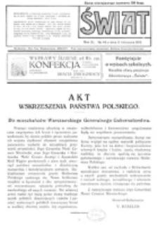 Świat : pismo tygodniowe ilustrowane poświęcone życiu społecznemu, literaturze i sztuce. R. 11 (1916), nr 46 (11 listopada)