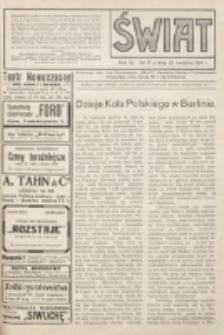 Świat : pismo tygodniowe ilustrowane poświęcone życiu społecznemu, literaturze i sztuce. R. 9 (1914), nr 17 (25 kwietnia)