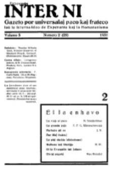 Inter Ni : gazeto por universalaj paco kaj frateco laŭ la interna ideo de esperanto kaj la homaranismo. Vol 5, numero 2=28 (1931)