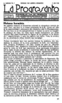 La Progresanto : studieblad van de Federatie van Arbeiders-Esperantisten in het Gebied van de Nederlandse Taal. Jaargang 4, no 7 (Juli 1938)