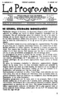 La Progresanto : studieblad van de Federatie van Arbeiders-Esperantisten in het Gebied van de Nederlandse Taal. Jaargang 9, no 1 (15 Januari 1947)