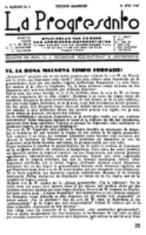 La Progresanto : studieblad van de Federatie van Arbeiders-Esperantisten in het Gebied van de Nederlandse Taal. Jaargang 9, no 4 (15 April 1947)