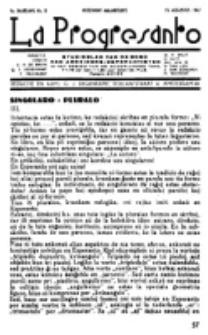La Progresanto : studieblad van de Federatie van Arbeiders-Esperantisten in het Gebied van de Nederlandse Taal. Jaargang 9, no 8 (15 Augustus 1947)