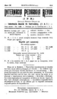 Internacia Pedagogia Revuo : oficiala organo de la Internacia Asocio de Instruistoj. Jaro 3, nro 8/9 (Marto-Aprilo 1913)