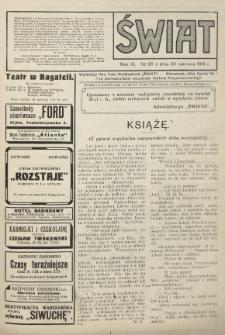 Świat : pismo tygodniowe ilustrowane poświęcone życiu społecznemu, literaturze i sztuce. R. 9 (1914), nr 25 (20 czerwca)