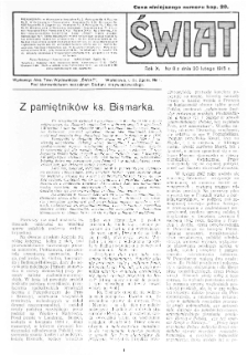 Świat : pismo tygodniowe ilustrowane poświęcone życiu społecznemu, literaturze i sztuce. R. 10 (1915), nr 8 (20 lutego)