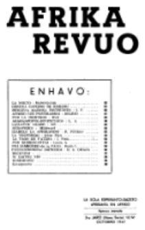 Afrika Revuo : la sola Esperanto-gazeto aperanta en Afriko : esperanto-gazeto por ĉiuj. Jaro 3 (nova serio), No 10 (Octobro 1947)