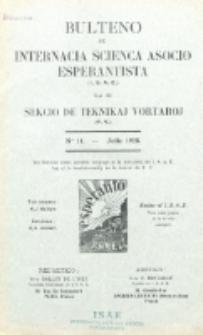 Bulteno de Internacia Scienca Asocio Esperantista (I.S.A.E) kaj de Sekcio de Teknikaj Vortaroj (T.V.). No 11 (Julio 1928)