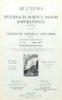 Bulteno de Internacia Scienca Asocio Esperantista (I.S.A.E) kaj de Sekcio de Teknikaj Vortaroj (T.V.). No 15 (Julio 1929)